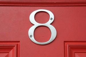number 8 door sign