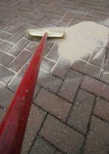 Washing a block paving driveway